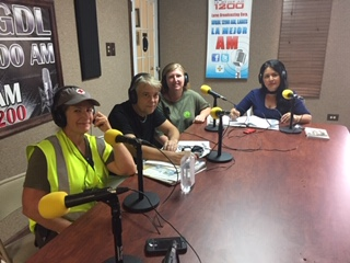 Dr Roman on radio giving orientation on leptospirosis prevention after hurricane Maria